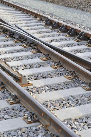 cruce de caminos: Cruce de trenes de gran X Foto de archivo