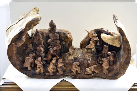 radical love: Carved wooden Nativity scene with Jesus