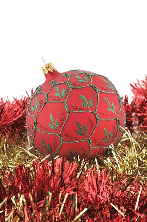 ball chain: Christmas ball with red and gold chain