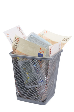 scrap trade: Decoration with euro paper banknotes  in Refuse bin