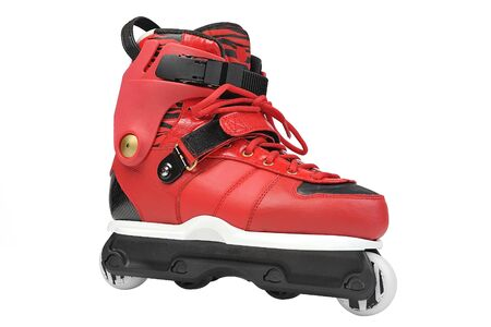 inline: red inline skate with laces Stock Photo