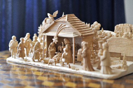 creche: Carved wooden Nativity scene with Jesus