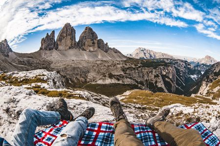Tre Cime Dolomiti view and chill out Stock Photo