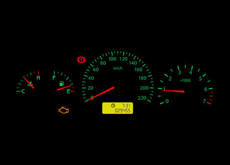 Car dashboard with indicator Check Engine. Vector.