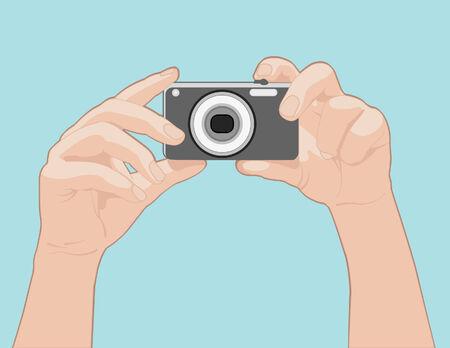 手がカメラを持って  イラスト・ベクター素材