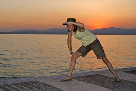 jones: Indiana Jones at the Lake of Garda, Evening tendency. Stock Photo