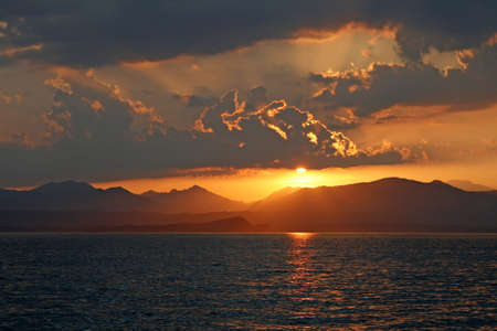 Evening atmosphere at the Lake of Garda, Lazise, Italy Stock Photo