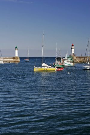Belle Ile, Le Palais, Port with lighthouse, Brittany, Northern France
