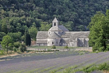 abbaye: Abbaye Notre-Dame de Senanque, Building exterior, with lavender fields, Provence, Southern France Stock Photo