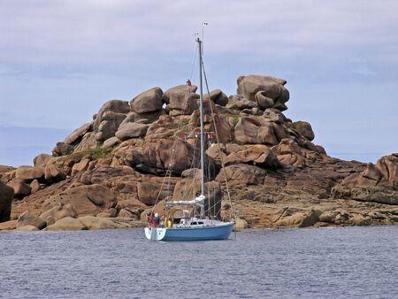 ploumanach: Stone coast near Ploumanach, Brittany, Northern France Stock Photo