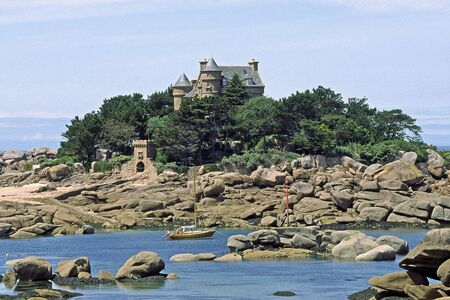 ploumanach: Castle Chateau Costa�r�s near Ploumanach, Brittany, Northern France Stock Photo