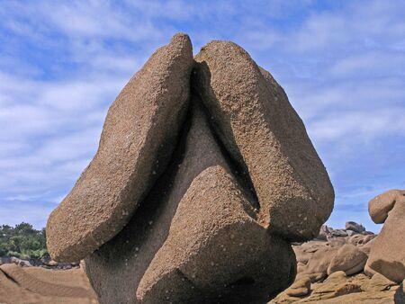 ploumanach: Big stone (Pig) near Ploumanach, Brittany, Northern France Stock Photo