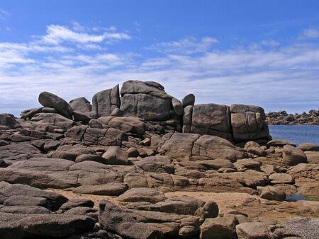 ploumanach: Rocky coastline near Ploumanach, Brittany, Northern France Stock Photo