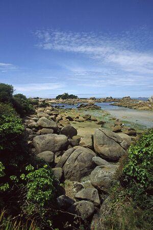 Ploumanach, 브리트니, 북부 프랑스 근처 바위 해안선 스톡 콘텐츠 - 3872224