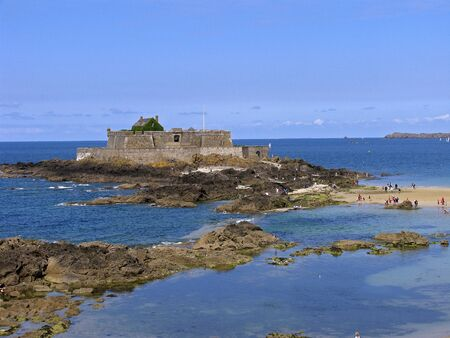 st malo: St-Malo, Fort National, Brittany, Northern France Stock Photo