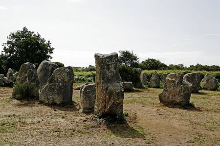 megalith: Megalith tombs near Erdeven, Alignements de Kerzerho, Brittany, Northern France