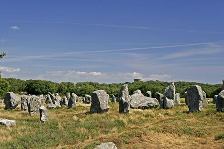 megalith: Megalith tombs near Kermario, Brittany, Northern France Stock Photo