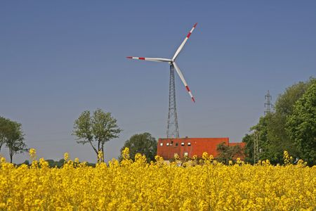 Wind power station near Bad Iburg, Osnabruecker Land, Lower Saxony, Germany Stock Photo - 5959747