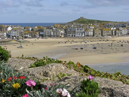 St. Ives, Penwith, Cornwall, Southwest England, Low tide. Banco de Imagens