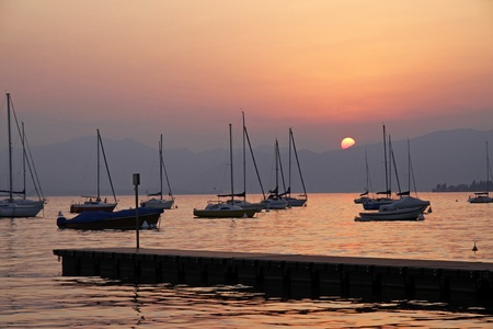 At the promenade of Bardolino, Lake Garda in Italy in the evening, Europe