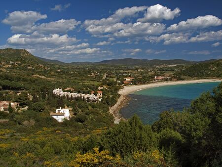 View on Golfo di carbonara and the beach of Campus, in the south of Sardinia, Italy, Europe photo