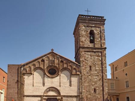 The cathedral of Iglesias  Cattedrale di Santa Chiara  at the Place Piazza Municipio, Sardinia, Italy, Europe