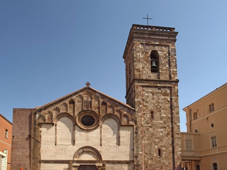 The cathedral of Iglesias  Cattedrale di Santa Chiara  at the Place Piazza Municipio, Sardinia, Italy, Europe