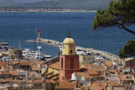 Saint Tropez, look on Gulf of St Tropez with parish church, Cote dAzur, French Riviera, Southern France