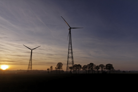 Wind power station  evening light  in Lower Saxony, Germany, Europe photo