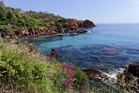 Esterel massif with porphyry rocks, Cote d Azur, French Riviera, Southern France, Europe Stock Photo