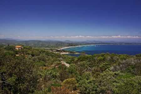 Cap Camarat, Ramatuelle near St-Tropez with Pampelonne beach at the Cote d Azur, Southern France, Europe photo