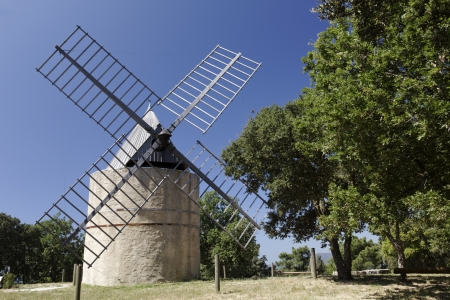 azur: Windmill near Ramatuelle, Windmill Jean Baptiste Paillas  18th century , Cote d Azur, Cote dAzur, French, Riviera, Provence, Southern France Stock Photo