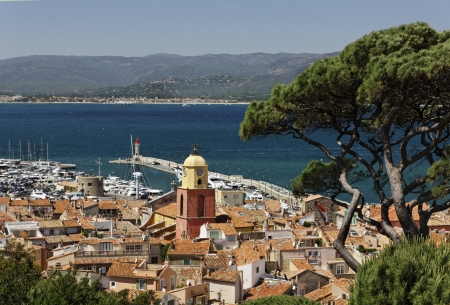 Saint Tropez, look on Gulf of Saint Tropez with parish church, French Riviera, Southern France