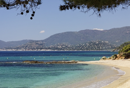 Gigaro beach near the city La Croix Volmer, Cote d Azur, Cote dAzur, French Riviera, Provence, Southern France Banco de Imagens