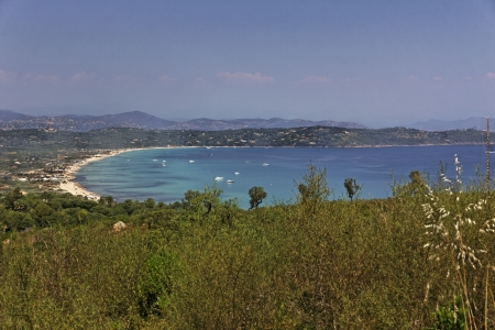 View from Cap Camarat, Ramatuelle at the southern beaches of Saint Tropez, Cote dAzur, French Riviera, Southern France