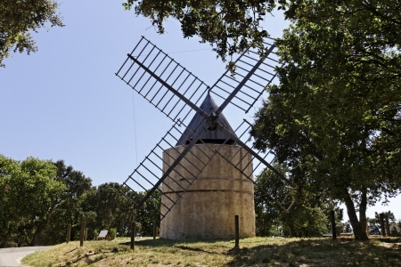 Grimaud, 17th century Saint Roch s windmill  Moulin de la Gardiolle, Moulin St Roch , French Riviera, Southern France, Europe photo