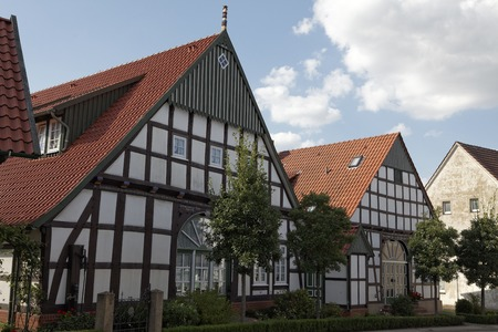 bad color: Timbered house in Bad Essen, Osnabrueck country, Lower Saxony, Germany, Europe