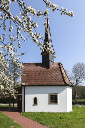 pains: The chapel to the seven pains of Marien in Hagen on the Teutoburg forest, area Gellenbeck in the Osnabrueck country, was built in the style of a Swiss mountain chapel, Lower Saxony, Germany, Europe
