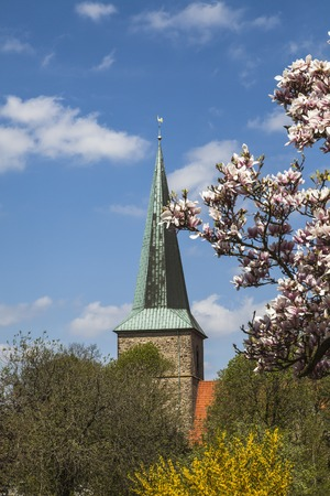 protestant: Evangelical St. Laurentius church in Schledehausen, Osnabrueck country, Lower Saxony, Germany (Protestant church)