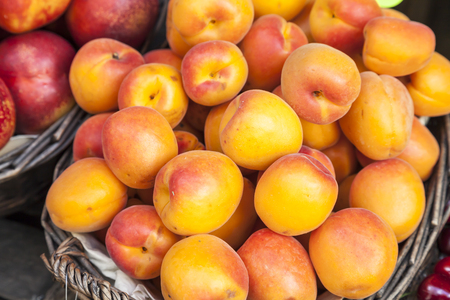healthful: Fresh peaches on a market in Italy