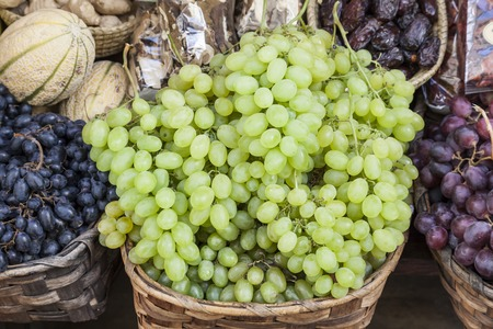 healthful: Fresh grapes on a market in Italy