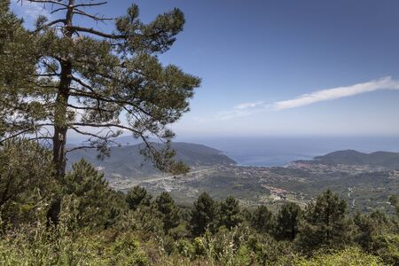 View from the mountain Monte Perone Elba Tuscany Italy