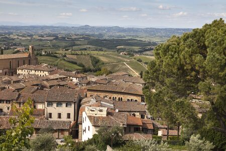 surrounding: San Gimignano view of the surrounding area Tuscany Italy Europe Stock Photo