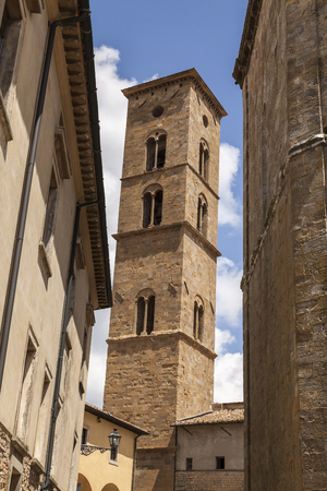 volterra: Tower of Volterra cathedral, Torre Campanaria, Tuscany, Italy Stock Photo