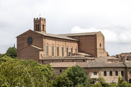 sienna: Sienna, San Domenica church, brick basilica in the north of the city, Tuscany, Italy Stock Photo