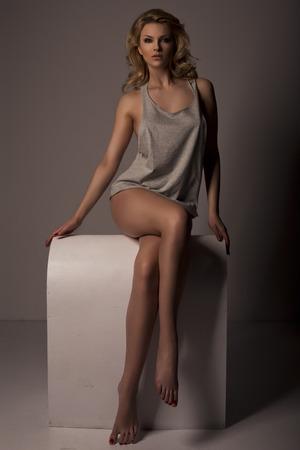 Sexy blond fashion woman Stock Photo
