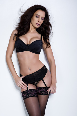 black woman lingerie: Beautiful brunette young woman in sexy lingerie