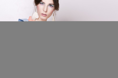 stylization: Portrait of the beautiful fashion woman in pastel stylization Stock Photo