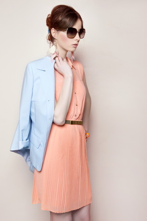 Portrait of the beautiful fashion woman in pastel stylization Stock Photo