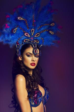 Sensual brunette wearing Samba dancer Costume